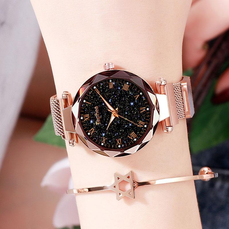 Starry Sky Ladies Dress Magnetic Watch Rose Gold Luxury Luminous Women Wrist Watches 2019 For Watch Relogio Feminino Reloj Mujer