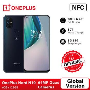 Перейти на Алиэкспресс и купить Глобальная версия OnePlus Nord N10 5G 6 ГБ 128 Snapdragon 690 смартфон 6,49 дюйм90 Гц Дисплей 64MP Quad камеры 30 Вт Warp зарядка NFC; промо код: LUCKY1500 P18000-1500
