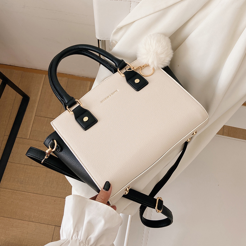 с доставкой Vintage Contrast Fur ball design PU Leather Crossbody Bags for Women 2020 Classic Shoulder Handbags Luxury  Hand Bag
