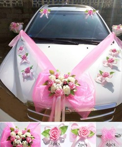 Image 2 - Simple Style PE Rose Wedding Car Decoration Flowers Heart Shaped Wreaths Color Can be Customized