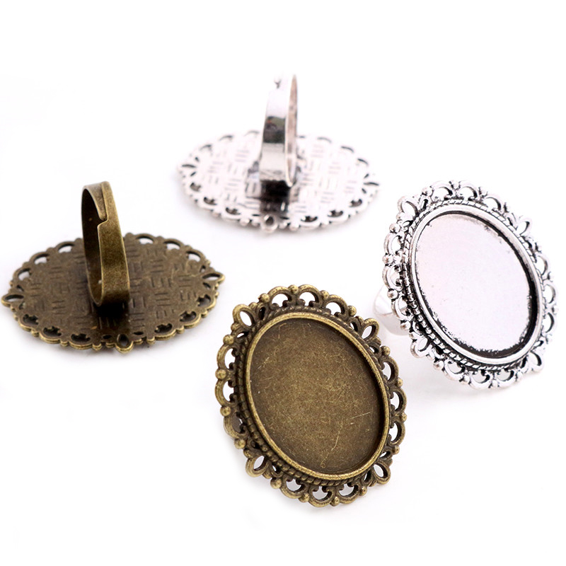 18x25mm 5pcs Antique Bronze Silver Plated Brass Oval Adjustable Ring Settings Blank/Base,Fit 18x25mm Glass Cabochons