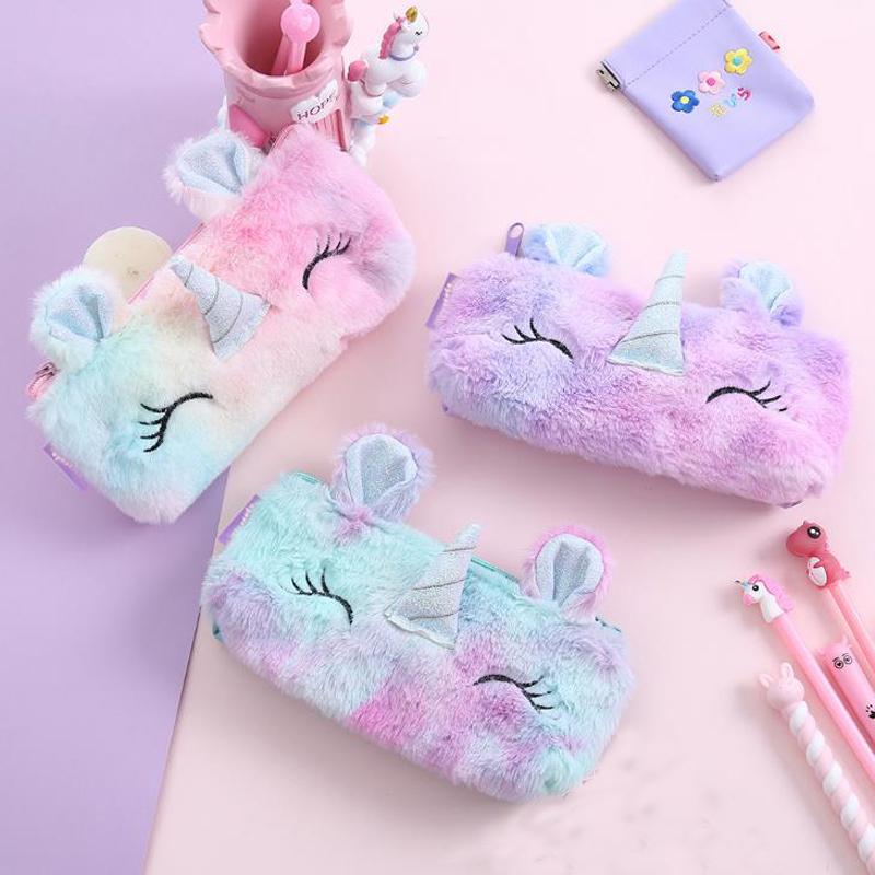 1 Pcs Rainbow Color Winter Plush Unicorn School Pencil Case Large Capacity Pencil Bags For Girls Stationery Pouch Kids Gift