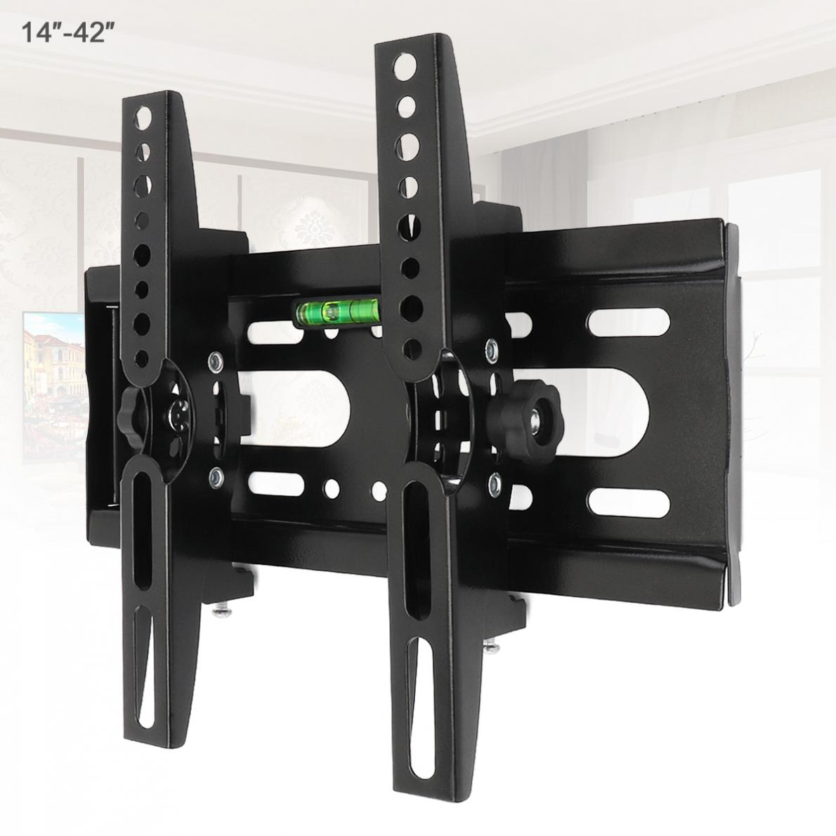 Universal 25KG Adjustable TV Wall Mount Bracket Flat Panel TV Frame Support 15 Degrees Tilt with Level for 14 - 42 Inch LCD LED