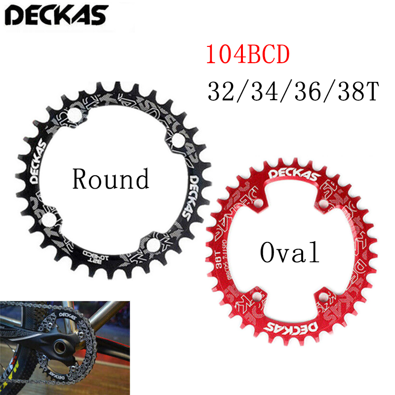 DECKAS <font><b>Narrow</b></font> <font><b>Wide</b></font> Chainring MTB 104BCD Round Oval Bicycle Chain Ring <font><b>32T</b></font> 34T 36T 38T Road Mountain Bike Single Crankset BCD 104 image