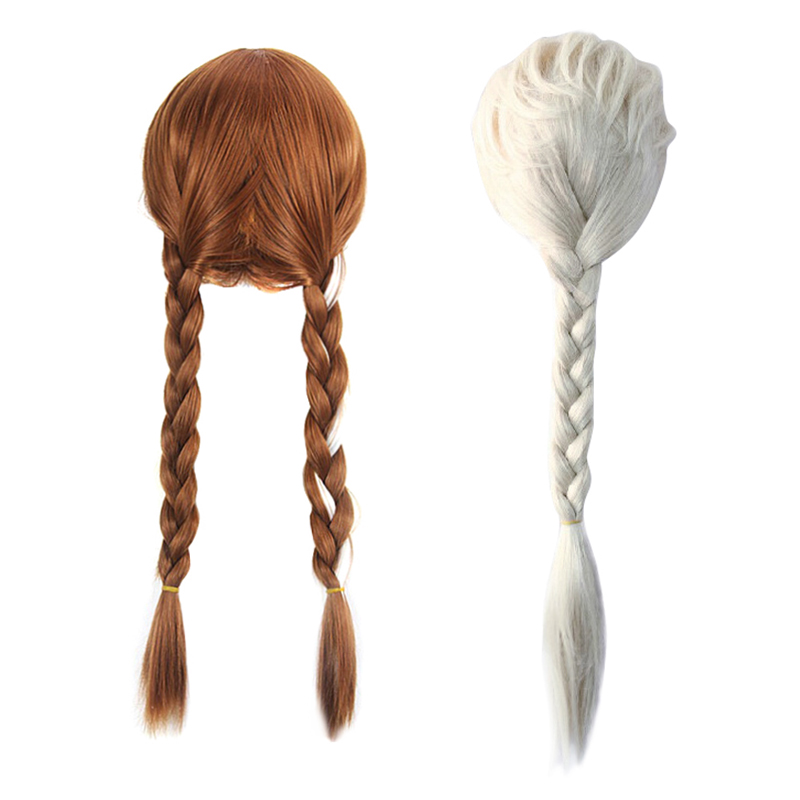 Frozen Elsa Girl/'s Light Blonde Braided Pigtails Wig Tiara Wand Gloves Sets