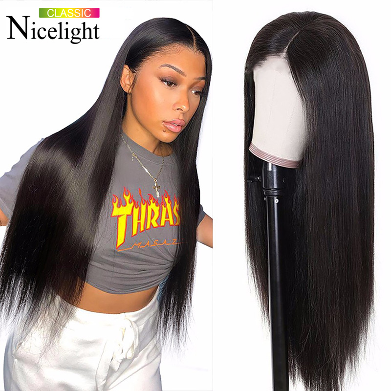 Nicelight U Part 2x4 Brazilian Lace Front Human Hair Wigs  Straight Frontal Wig Lace Frontal Human Hair Wigs Natural Hairline