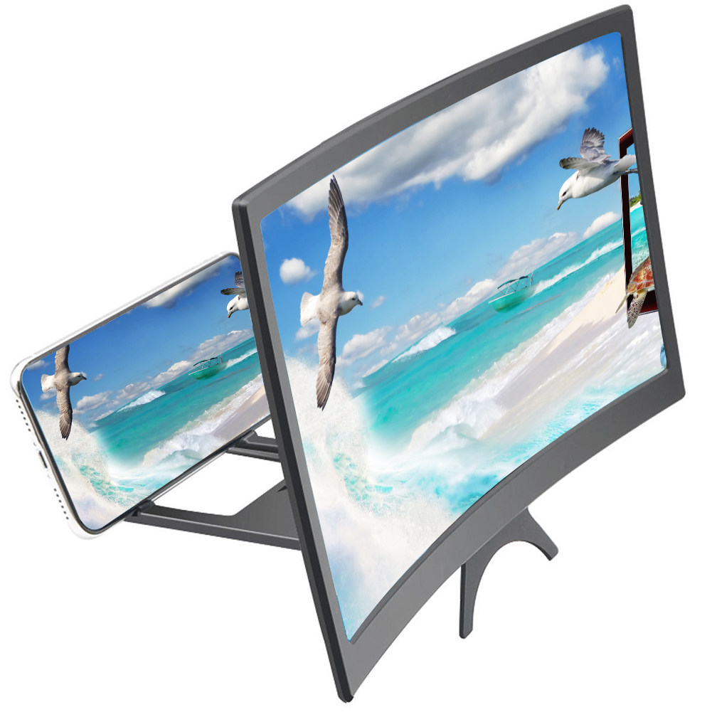 Gaoxingbianlidian Mobile Phone Screen Amplifier HD 12 Inch 3D Magnifying Glass Video Lazy Lens Bracket Smartphone Universal Wood Grain Folding,Comfortable Color : Wood Grain, Size : 26.219.2cm