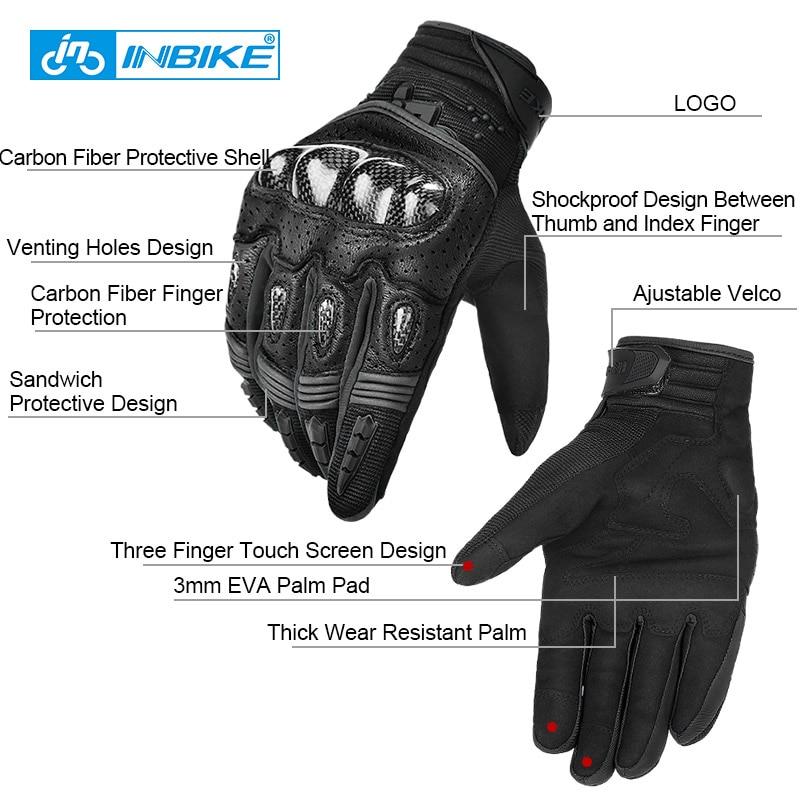 INBIKE Motorbike Gloves Leather Protection All Season Motorcycle Racing Glove IM803