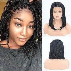 AIMEYA tressé Bob court tresses perruques pour les femmes noires partie moyenne synthétique dentelle avant bob perruque sans colle résistant à la chaleur Fiber