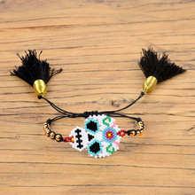 Shinus Miyuki Bracelets Mexican Skull Bracelet Women Pulseras Mujer Moda 2019 Bileklik  Jewelry Joyeria Handwoven Tassel