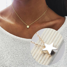 Fashion Female Tiny Star Moon Shape Pendant Necklace Charm Gold Chain Choker Necklaces for Women Jewelry Drop Shipping