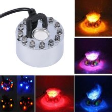 Wholesale Dropship New 12 LED Colorful Light Ultrasonic Mist Maker Fogger Purify Water Fountain Pond 12 led colorful light ultrasonic mist maker fogger purify water fountain pond indoor outdoor 1a 24v abs easy to operate