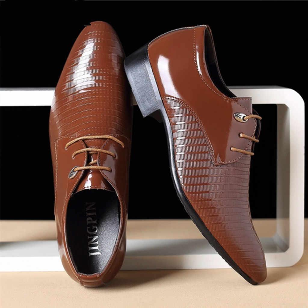 JAYCOSIN แฟชั่นรองเท้าหนังผู้ชายรองเท้าใหม่ชี้ Toe Lace-Up รองเท้าชายคุณภาพ PuLeather ชุดรองเท้า