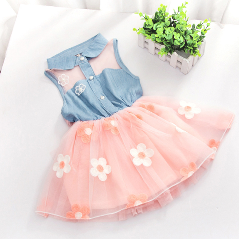 2018 New Summer Dress Children's Clothing Girls Denim Stitching Baby Girl Dresses Party Wedding Children's Mesh Princess Dress