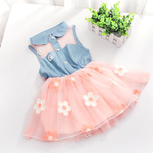 2018 New Summer Dress Children's Clothing Girls Denim Stitching Baby Girl Dresses Party Wedding Children's Mesh Princess Dress