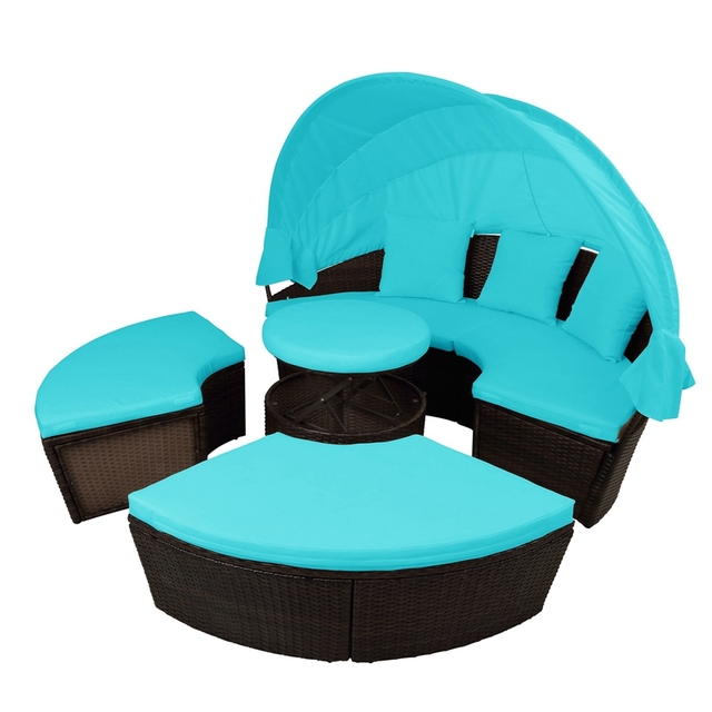 Round Outdoor Sectional Sofa Daybed With Retractable Canopy  4