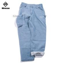 Mirecoo Cargo Pants Men Pocket Printed Baggy Jeans Straight Streetwear Denim Harajuku Hip Hop Sweatpants Autumn