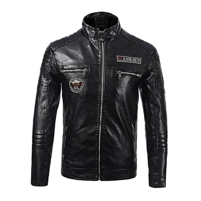 Plus Size 3XL Black Warm Thick Velvet Motorcycle Bomber Pilot Jackets Washed PU Faux Leather Coat 2019 Winter New Trendy