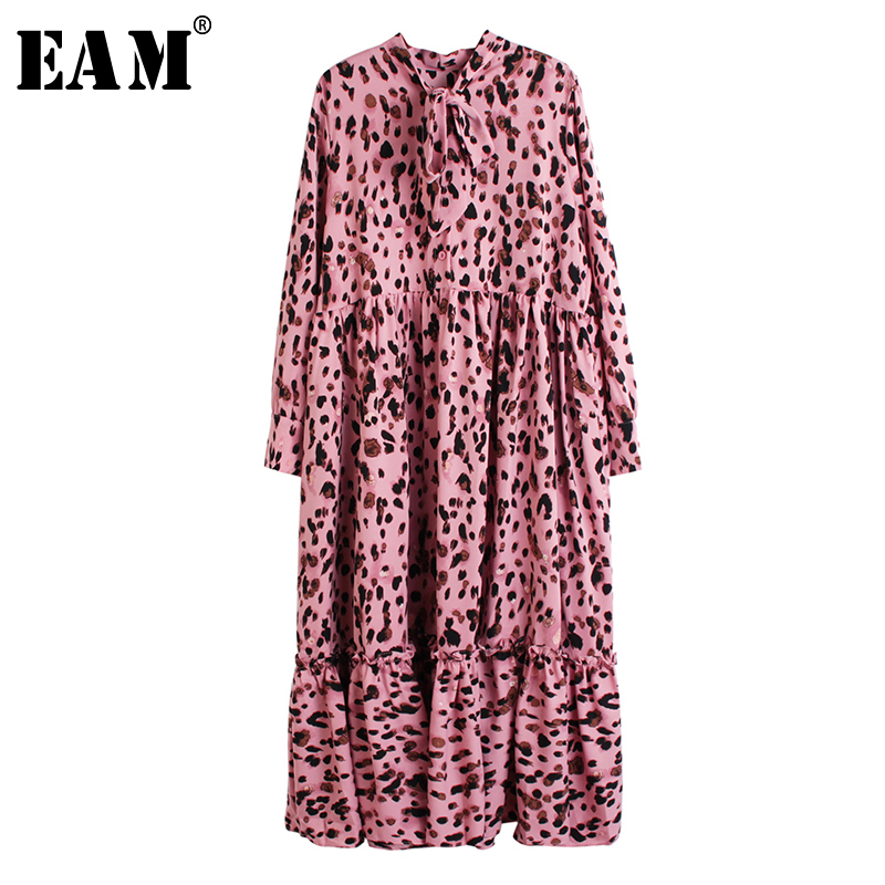 [EAM] Women Leopard Printed Split Joint Big Size Dress New Bow Collar Long Sleeve Loose Fit Fashion Spring Autumn 2020 1R530