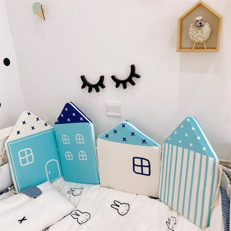 Cute House Bed Rail Baby Bed Fence Safety Gate Baby Barrier For Beds Security Fencing Children Guardrail Baby Playpen INS Hot