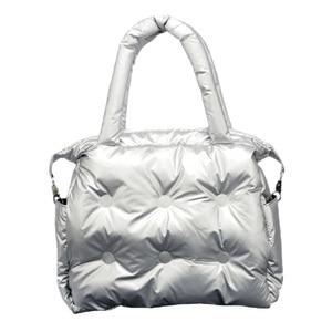 Image 3 - Зимние сумки 2019, вместительные хлопковые мешки с перьевым наполнителем, сумки на одно плечо, прокладка в стиле ретро, однотонная Сумка тоут, повседневная женская сумка мессенджер