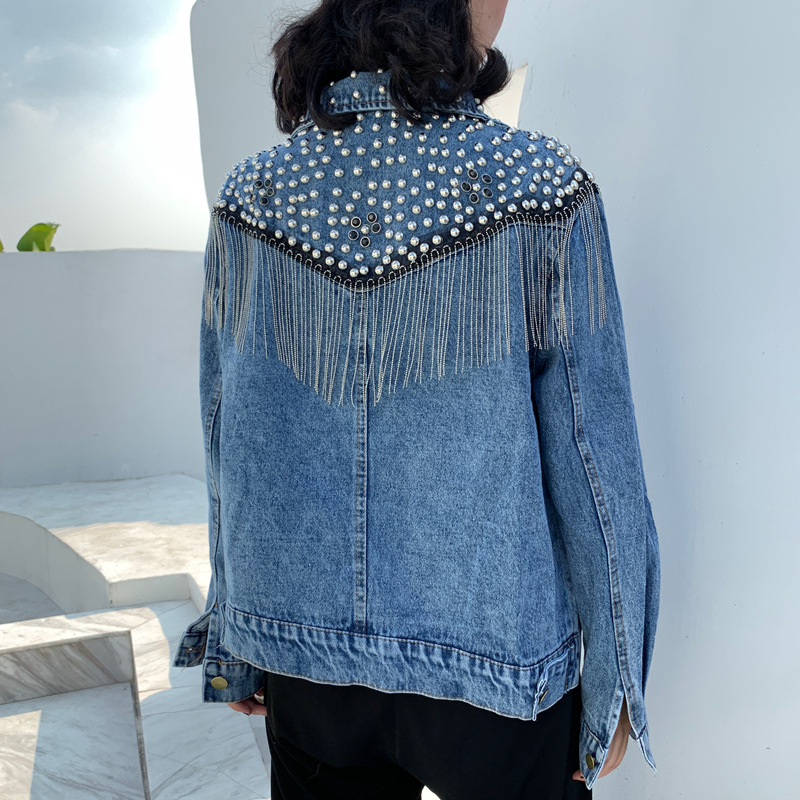 Chaquetas Mujer Autumn Streetwear Denim Jacket Women Hand-studded Rivets Tassels Chain Short Jeans Jacket Loose Black Blue Coats