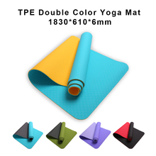 цена на 1830*610*6mm Anti-Slip TPE Yoga Mat With Non-toxic Good Elasticity Fitness Exercise Pilates Mat Pads With 8 Colors For Beginner