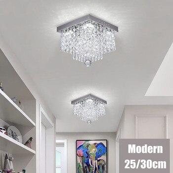 20W Modern LED Crystal Pendant Light Square Luxury Pendant Flush Mount Fixture Light Bedroom Lobby Home Room Fixture Lighting