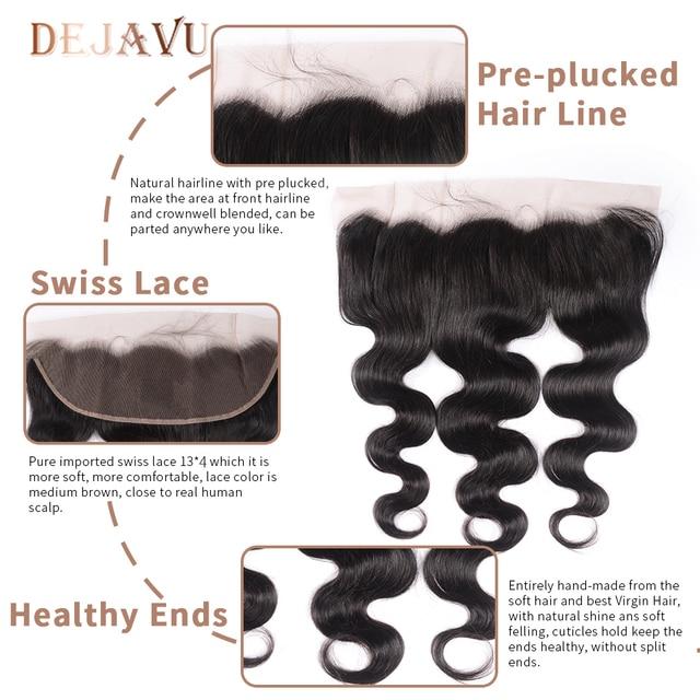 Dejavu doczepy typu Body Wave z zamknięciem brazylijskie pasemka włosów z przednim ludzkim włosem Frontal z pakietem nie Remy do przedłużania włosów