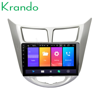 Krando Android 9.0 9 IPS Touch car multimedia system for hyundai accent verna 2011-2017 car radio gps navigation No 2din DVD image