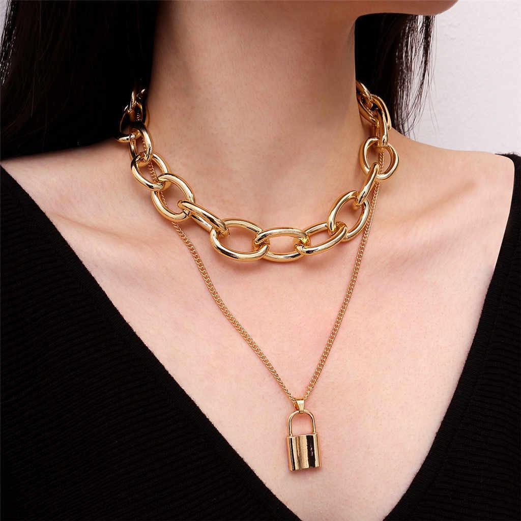 Złoty kolor wisiorek kłódka Choker naszyjnik dla kobiet moda blokada wisiorek naszyjnik długi łańcuch kołnierz czechy biżuteria