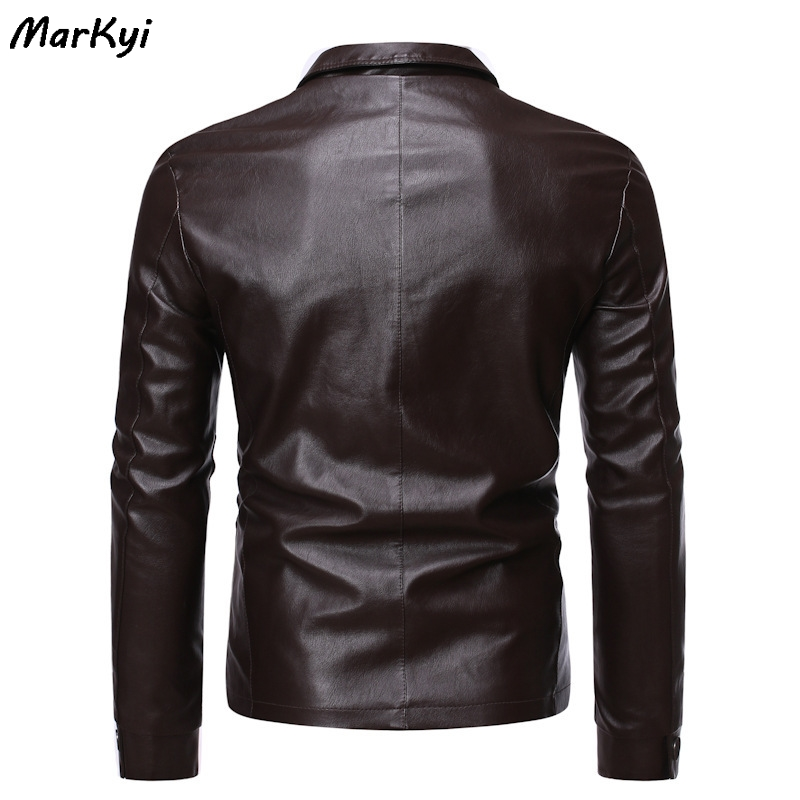MarKyi 2020 new pakistan leather jackets for men turn down collar motorcycle windbreaker chaqueta cuero hombre