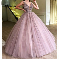 Abendkleider 2020 Evening Dresses Sparkle Beaded Tutu Ball Ball Gowns Crystal Pearls Vintage Long Evening Gowns V neck Prom Gown