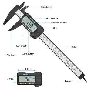 Image 2 - Vastar 150mm 100mm 6 Cal elektryczna suwmiarka cyfrowa noniusz z włókna węglowego suwmiarka pomiar mikrometryczny narzędzie cyfrowy linijka