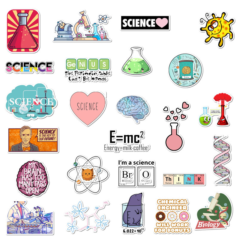 50 Pcs/Set Science Physics Chemistry Stickers DIY Toy Waterproof PVC Sticker Laptop Bottle Luggage Notebook Decorate For Student