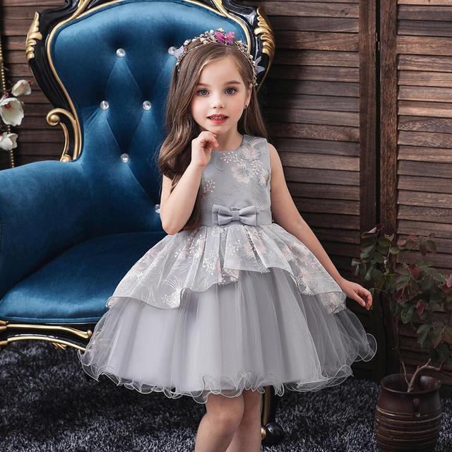 baby summer dress Girls embroidered dress enfant birthday Princess Dress bow floral childrens Puff dresses 1 5y girl vestidos