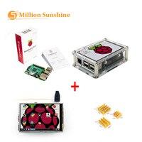 2019 mais recente! raspberry pi 3 starter kit original raspberry pi 3 + 3.5 polegada touchscreen acrílico caso dissipador de calor frete grátis