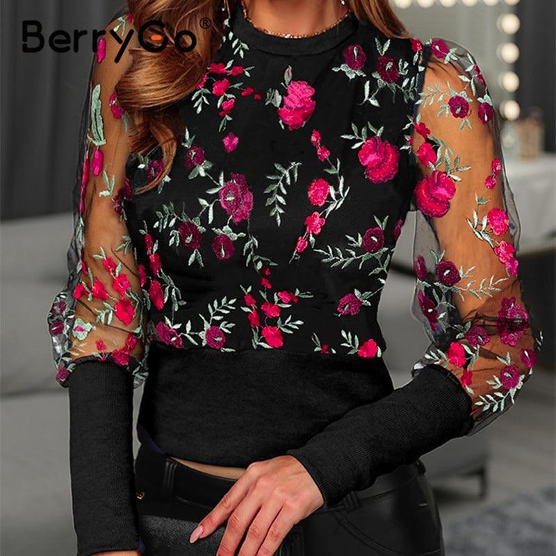 BerryGo Embroidery Vintage Women Blouse Shirt Elegant Organza Mesh Long Sleeve Blouse Slim Party Club Floral Female Top Shirt