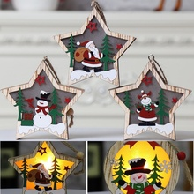 Christmas Tree Ornament Wooden Glowing Classic Scene LED Lights  Pendant Gift Decoration