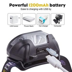 Image 4 - Mini şarj edilebilir LED far vücut hareket sensörlü LED bisiklet başkanı işık lambası açık kamp el feneri USB portu ile
