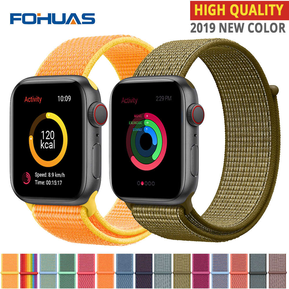Correa deportiva de Nylon de alta calidad para Apple Watch band Series 5 4 3 2 1 suave transpirable Correa tejida 44mm iwatch 38mm 40mm