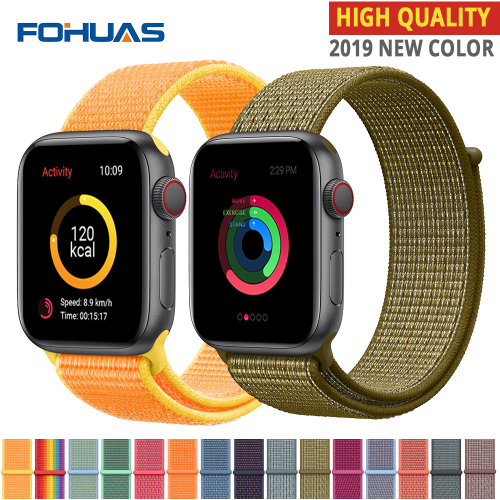 High Quality Nylon Sport Loop Replacment For Apple Watch Band Series 5 4 3 2 1 Soft Breathable Woven Strap 44mm Iwatch 38mm 40mm
