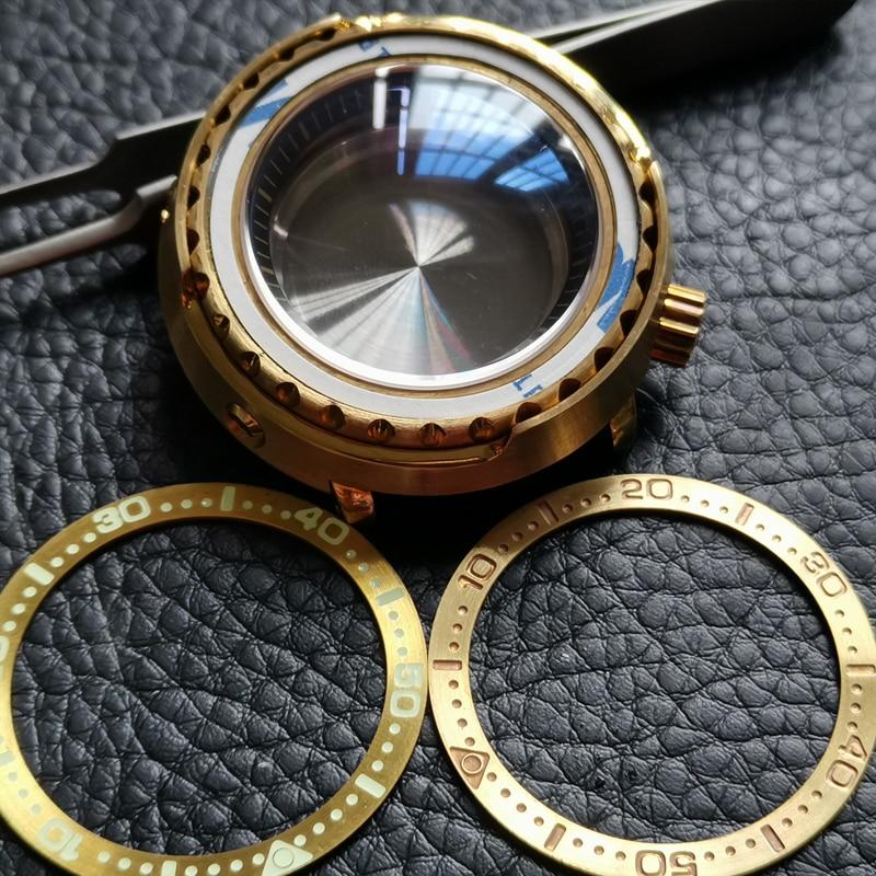 Купить 47 мм сапфировое стекло бронза тунец часы чехол подходит для