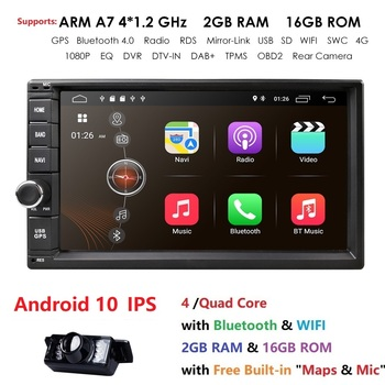 Quad Core Android 10 2G RAM 16G ROM Support 4G WIFI Network Car GPS 2 din Universal Car No DVD Radio player 1080P DVR DAB+ TPMS