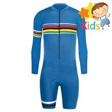6 Colors Childrens Cycling Wear Trisuit for Kids Triathlon Bike Suit Bicycle Long Sleeve Skinsuit