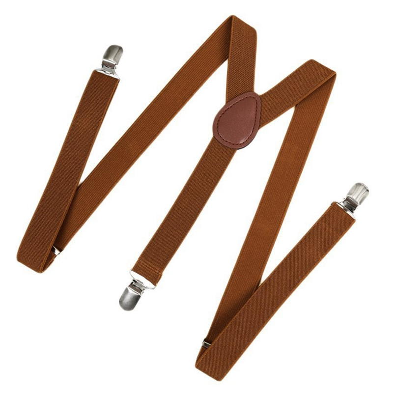 Unisex Clip On Suspender Elastic Y-Shape Back Formal Adjustable Braces, Brown