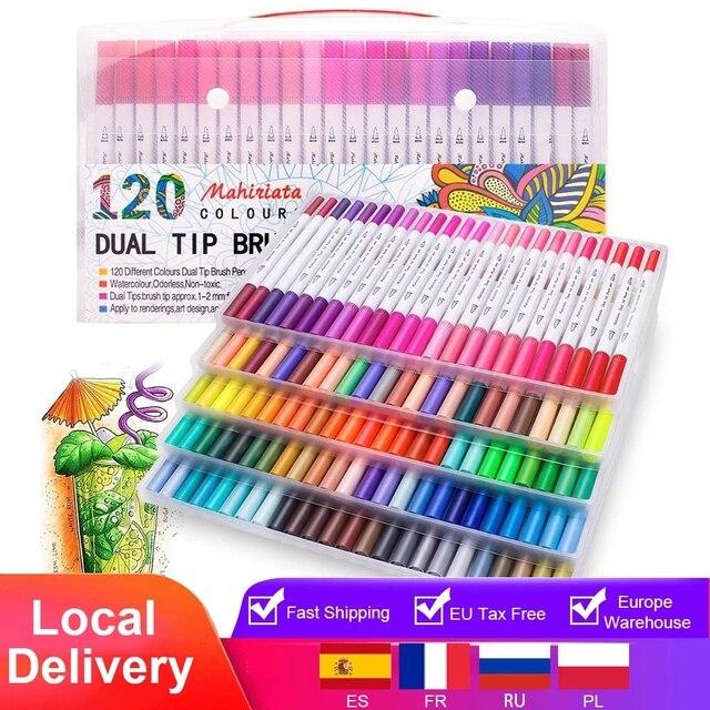 כפולה טיפ אמנות סמני 60/100/120 צבעים קליגרפיה צבעי מים מברשת צבע עט סט למבוגרים צביעת ספרים