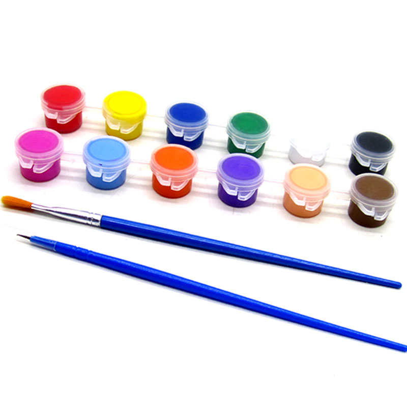 12 Colors Acrylic Paint WaterBrush Pigment Set For Clothing Textile Fabric Hand Painted Wall Plaster Painting Drawing For Kids