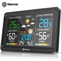 Geevon Weerstation Klokken Draadloze Digitale Led Kalenders Tafel Klok Met Temperatuur En Vochtigheid Snooze Wekker