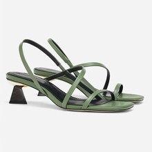 Boussac/сандалии-шлепанцы с перекрестной шнуровкой на геометрическом каблуке; босоножки на высоком каблуке без застежки с узкими ремешками; Женские Летние Босоножки с открытым носком; SWC0455